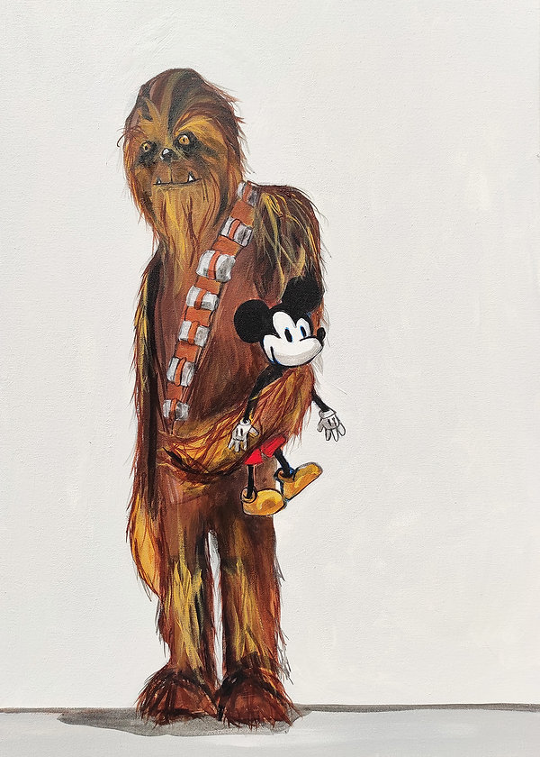 wookiee, chewbacca, mickey mouse, jane stadermann, cool art, satire, funny art
