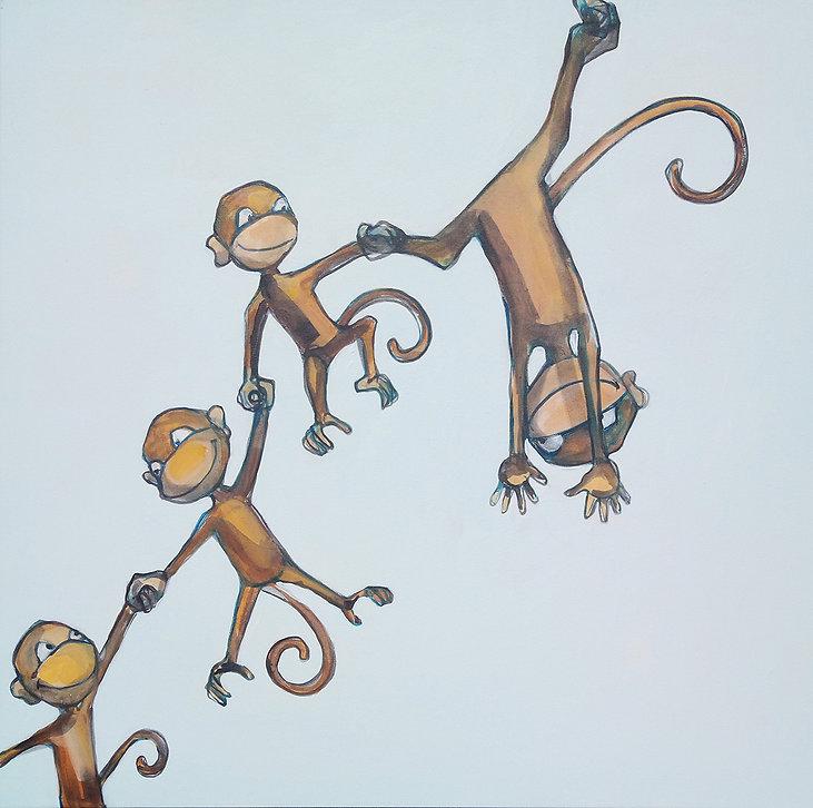 monkeys, monkey family, nursery art, cool art, jane stadermann, original painting