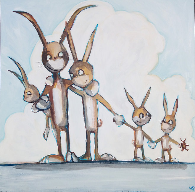 rabbit family, jane stadermann, original painting, sydney, cool art, bunnies