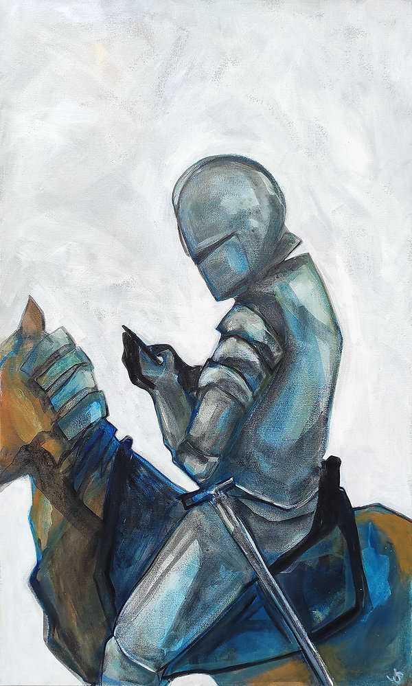 texting knight painting, Jane Stadermann original art, Knight, Fairytale art, Cool art, best art online, Australian art, Australian Art online, Sydney Illustrators, the ilustration shop, KNight on horse, classic painting, the best place to buy art in Sydney, affordable art