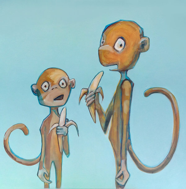 jane stadermann, Sydney, cool art, monkeys, bananas, original art