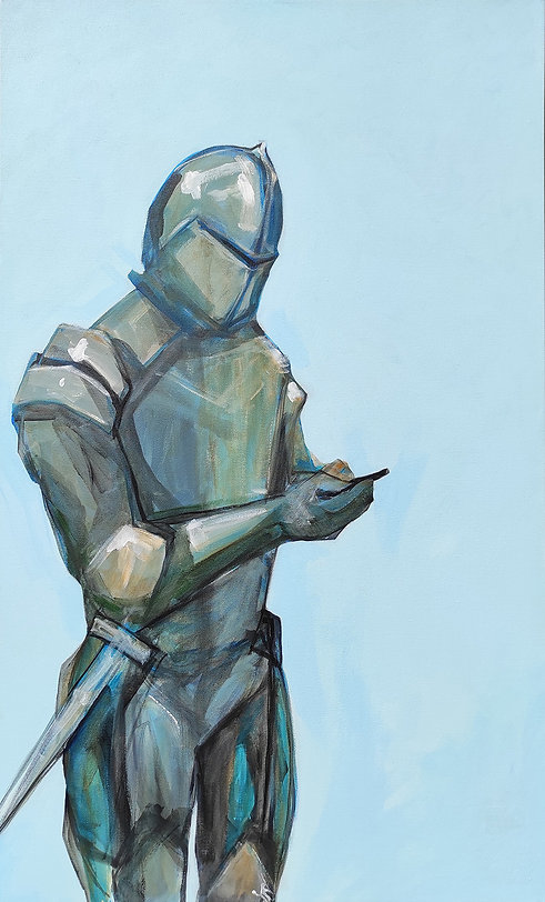 texting knight painting, Jane Stadermann Original Art, cool art, buy art in Sydney, best place to buy art online, cool afforable art, feature art, fairytale art, knight