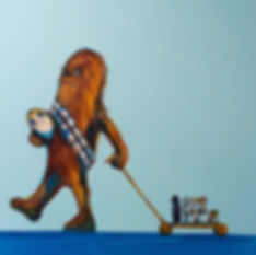 a little chewbacca playing wit hi toys an a porg, original painting by jane stadermann