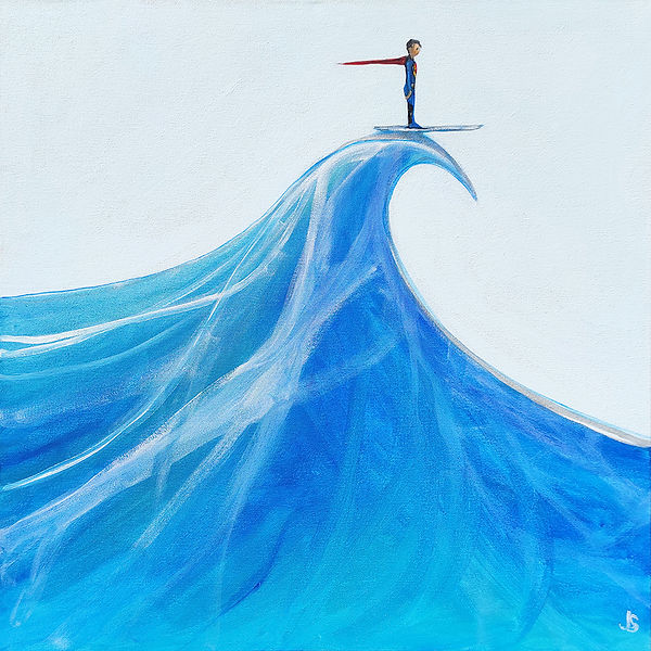 surfing superman, superman, surfer, wave, original painting, cool art, jane stadermann, Sydney artist