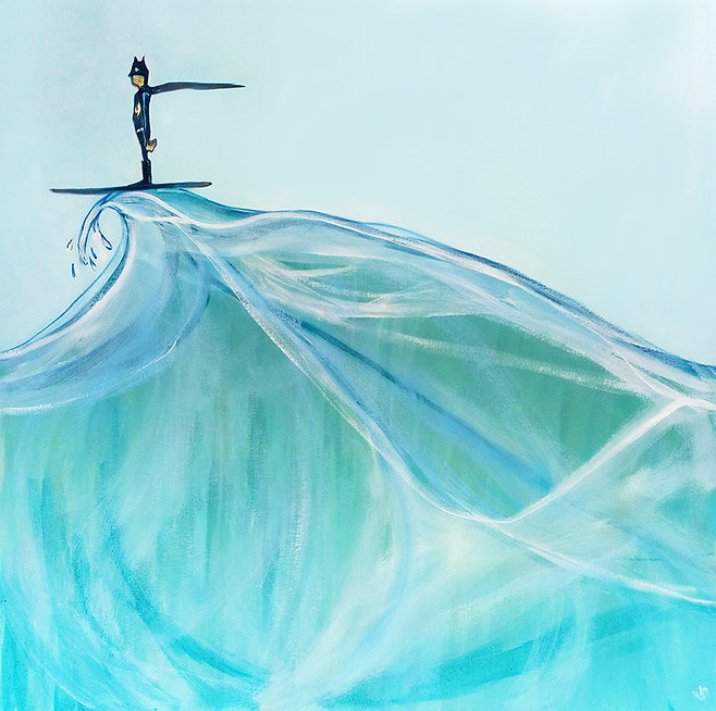 batboard, jane stadermann, surfing atman, cool painting, Sydney artist