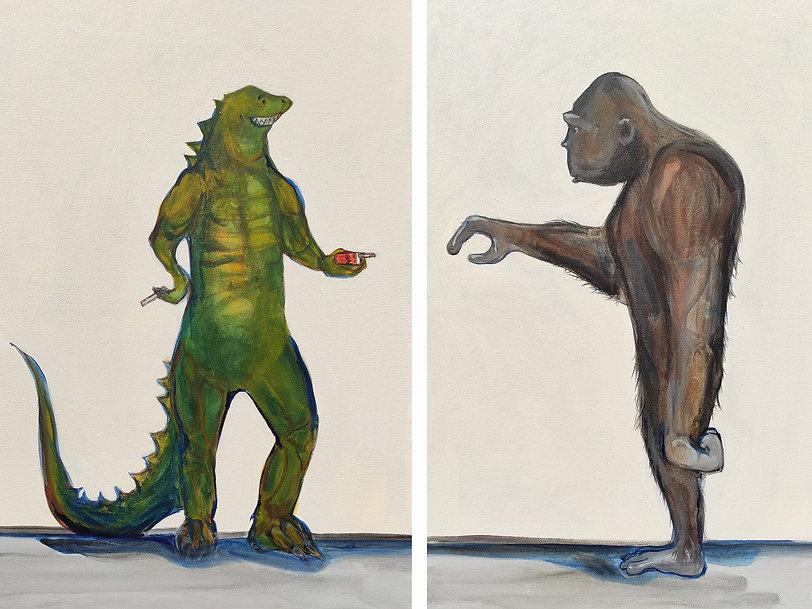 time out, godzilla, king kong, jane stadermann, original art, cool art, satire