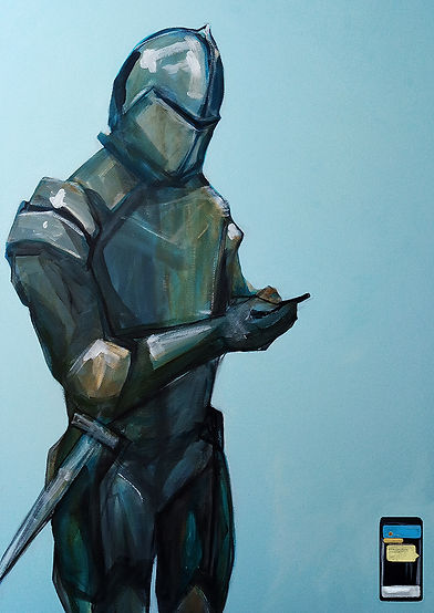 texting knight stanging with phone with