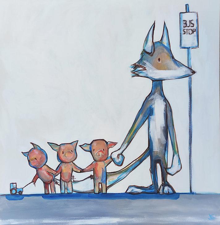 three little pigs, big bad wolf, bus stop, original painting, cool art, Sydney art, Jane Stadermann, fairytale, art for kids
