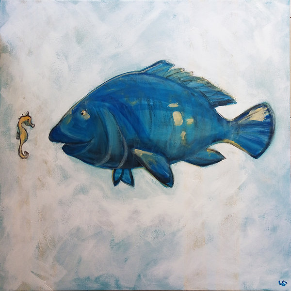 Blue Groper, Jane Staderman, Clovelly, cool painting Bluey
