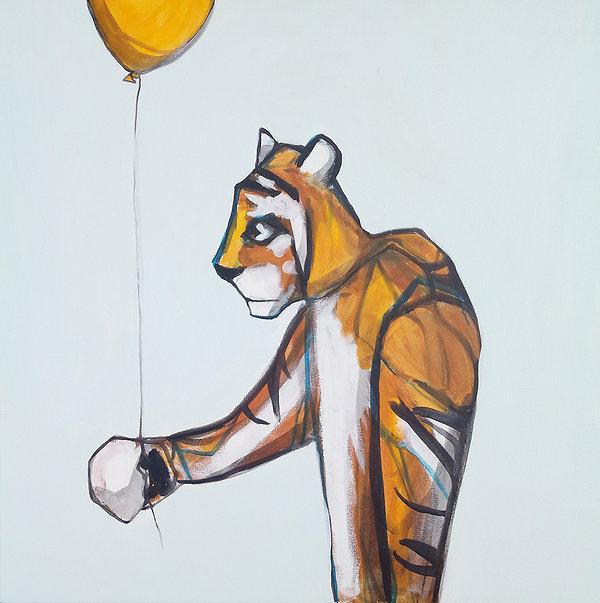 tiger, tiger with balloon, jane stadermann, aussie artist, cool art, art for kids, fun art