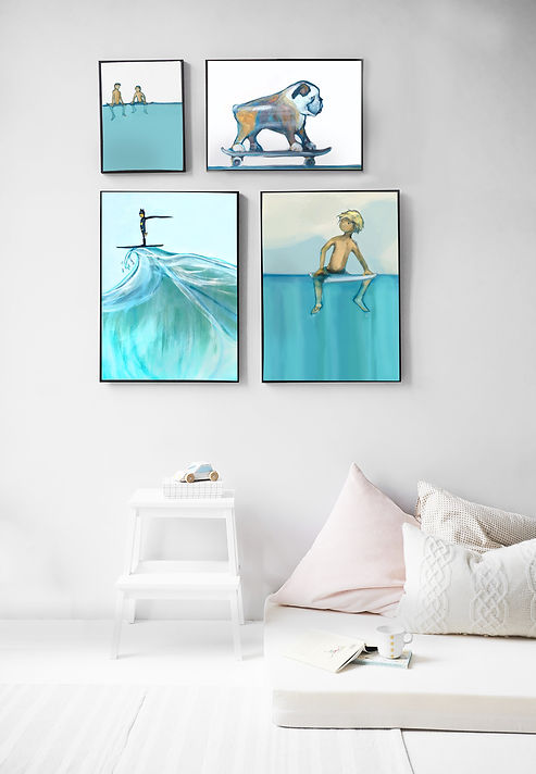 surfer art, beach prints, australian art, austraan art online, online posters, online prints, dog on skateboard print, batman surfing, cool prints, cool art, Sydney prints, beachy art, the illustration shop