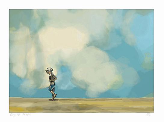 boy with penguin print, rabbit books, jane stadermann, picture book illustratin, cool art, surf art, beach art