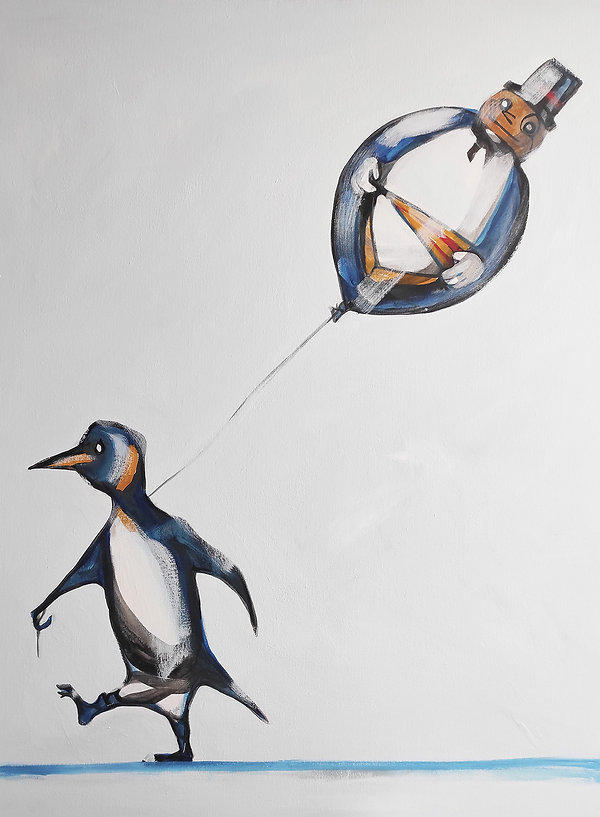 peguin, the penguin, batman, balloon, cool painitng, satire art, jane stadermann