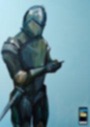 jane stadermann, original art, cool art, knight texting