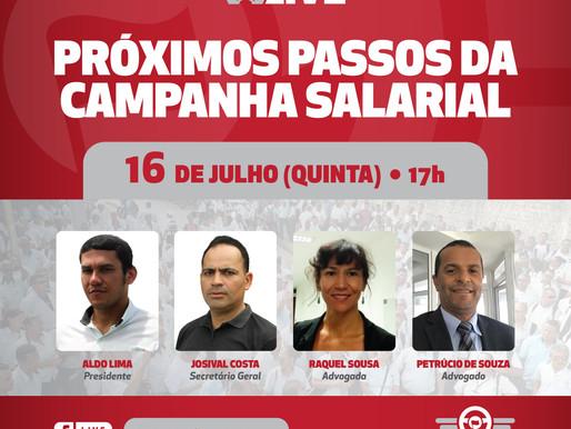Live nesta quinta (16) debate próximos passos da campanha salarial