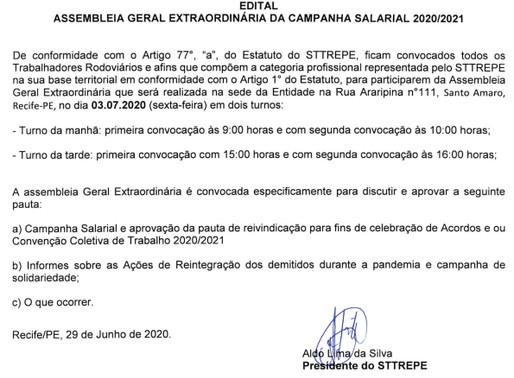 Edital: Assembleia Geral Extraordinária da Campanha Salarial 2020/2021
