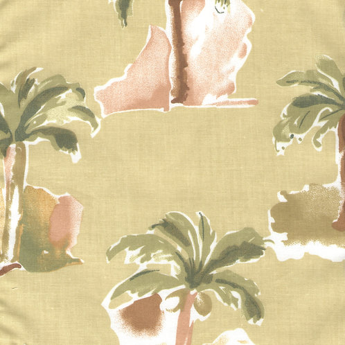 Modern Palm Earthtone Balloon Valance or Curtains