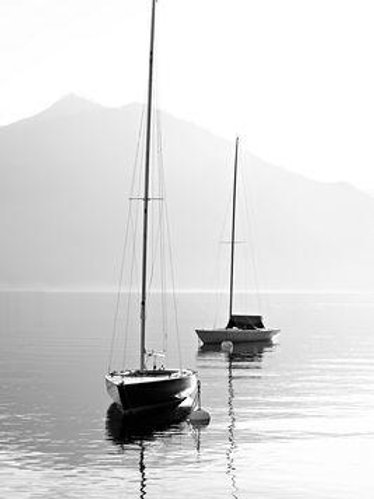 Two Sailboats with Mountains Top