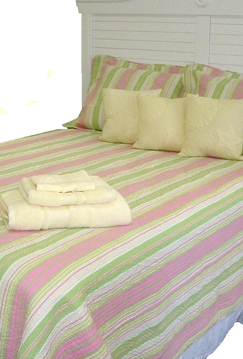 Pink & Green Stripe Quilt