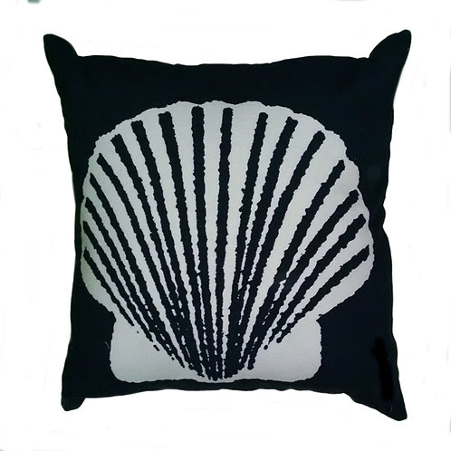 Scallop on Black Embroidered Throw Pillow