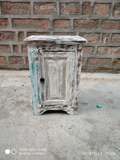 Whitewash Reclaimed Wood Bed Side Table