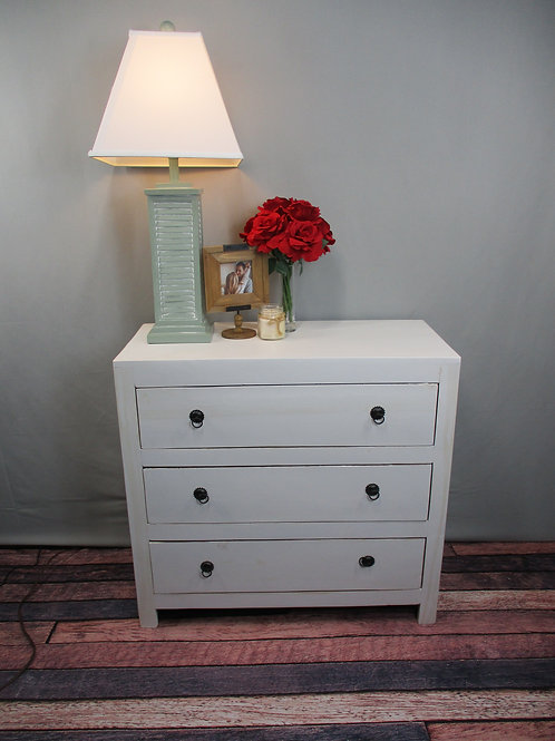 Pure White Finish Reclaimed Wood Three Drawer Chest (MDA-24PW)