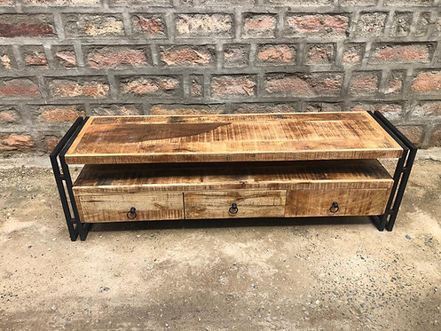 Indian Reclaimed Wood & Iron Frame TV Stand