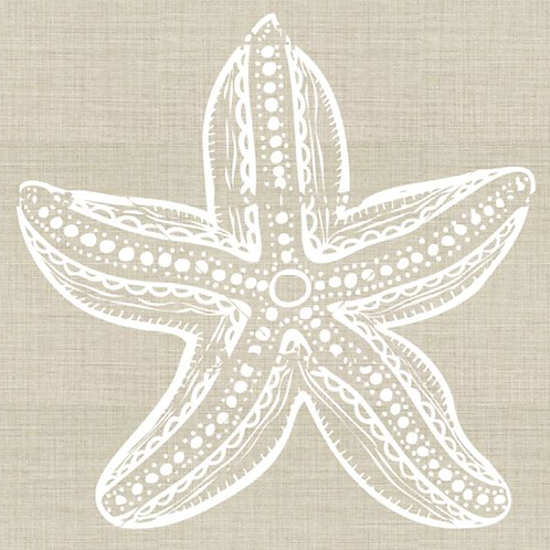 Embroidered Starfish Pillow Cover