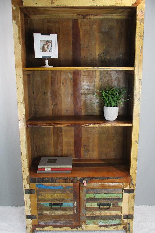 Multi Colored Three Shelf Bookshelf with Two Doors for Storage (MDA-20-25)