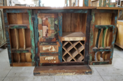 Reclaimed Wood Bar Cabinet and Space Saver