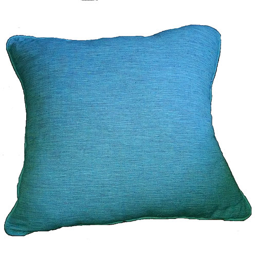 Blue Linen Weave Throw Pillow