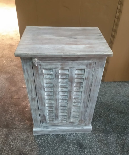 Mango Wood Whitewash Shutter Door Kitchen Storage Unit