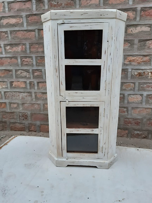 Mango Whitewash Wood Corner Tall Unit with Glass Doors