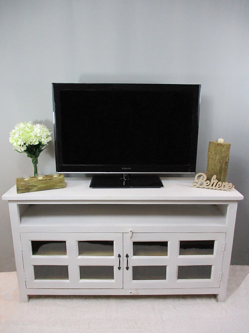 Mango Wood Entertainment Stand in Pure White Finish (MDA-106PW)