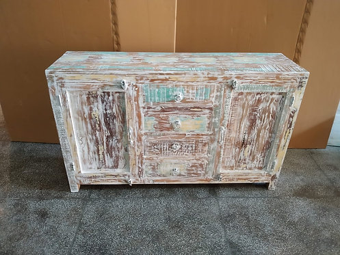 Indian Reclaimed Wood Whitewash Wood Four Drawers and Two Doors Sideboard Chest