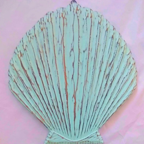 The Large Scallop Wall Art in Aqua