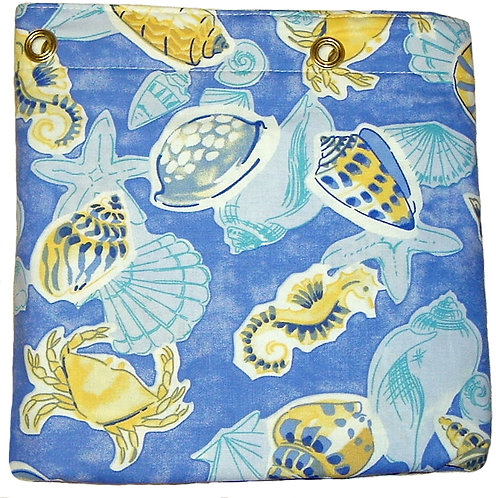 Blue and Yellow Sealife Shower or Stall Curtain