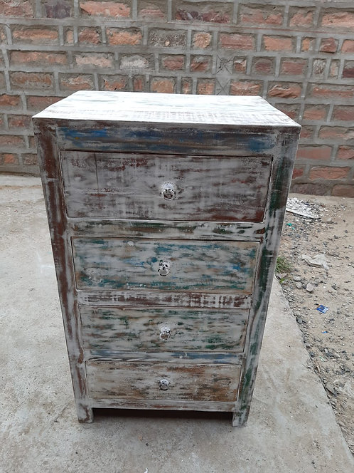 Indian Reclaimed Whitewash Finish Wood Four Drawer Chest