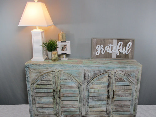 Indian Reclaimed White Wash Wood Wide Cabinet (MDA-79C)