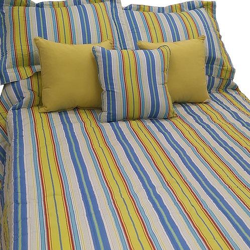 Bright Blue/Green Stripe Coverlet