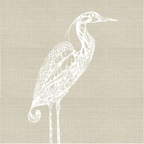 Heron Embroidered Pillow Cover