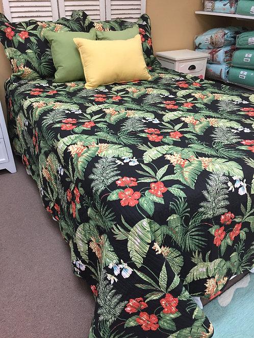 Black Tropical Quilt Set