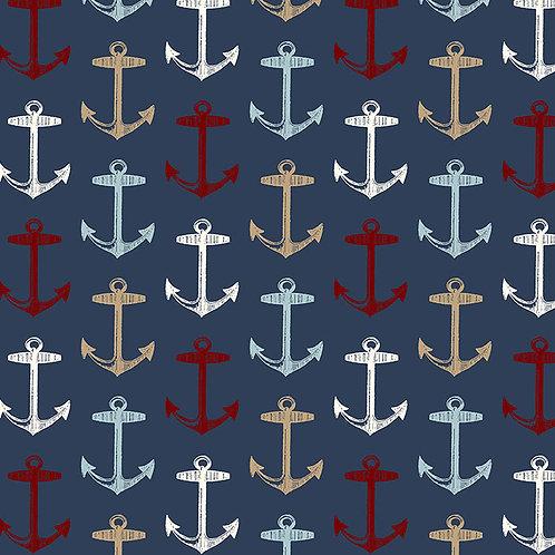 Multi-Color Anchors on Navy Cushion