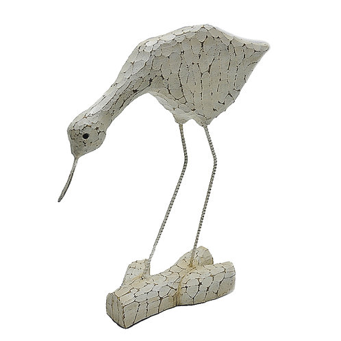 Wooden White Distressed Carved Bird