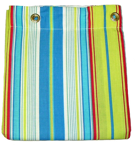 Bright Blue and Yellow Stripe Shower or Stall Curtain