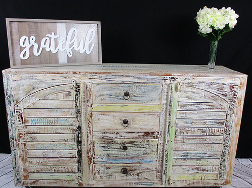 Indian Reclaimed White Wash Wood Cabinet on Wheels (MDA-80C)