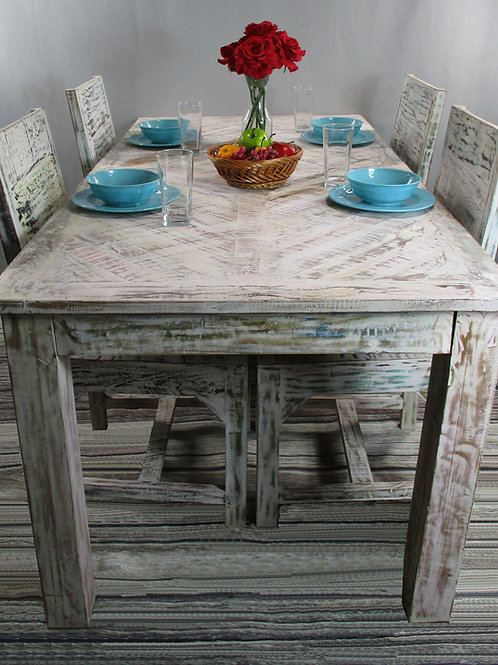 Indian Reclaimed White Wash Wood Dinning Room Table with Design (MDA-134C)