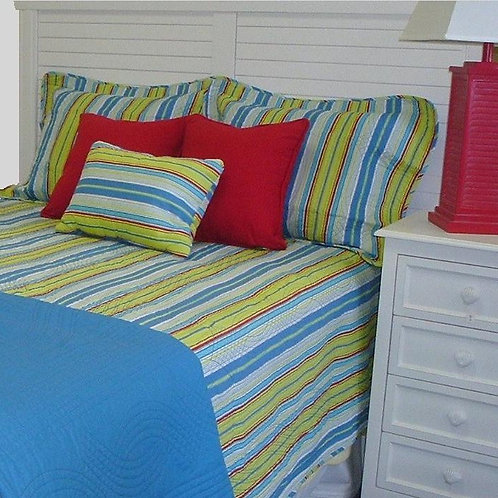 Bright Blue & Green Stripe Coverlet