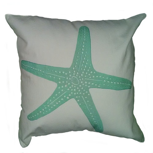 Green Starfish Throw Pillow