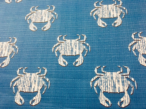 White Crab on Blue Pillow